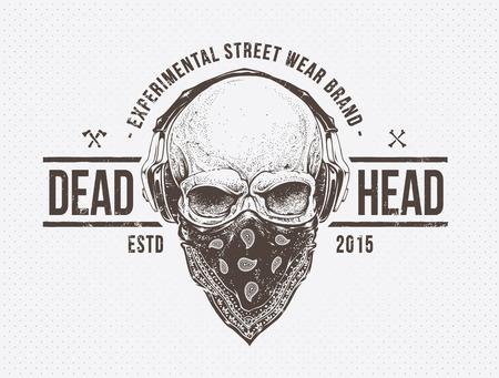 Grunge print. Skull with headphones. Dotwork styled vector art. Illustration