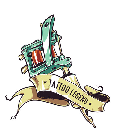 Retro styled illustration of tattoo machine with ribbon on white background. Stock Illustratie
