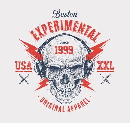 Dotwork style skull with headphones and lightnings. Grunge print template. Vector art.
