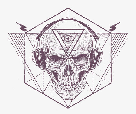 third eye: Skull with third eye in headphones. Dotwork styled illustration with geometric abstract elements. Grunge print template. Vector art.