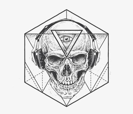 calavera: Cráneo con el tercer ojo en los auriculares. Dotwork estilo ilustración con elementos abstractos geométricos. Vector el arte.