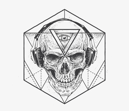 Skull with third eye in headphones. Dotwork styled illustration with geometric abstract elements. Vector art. Vettoriali