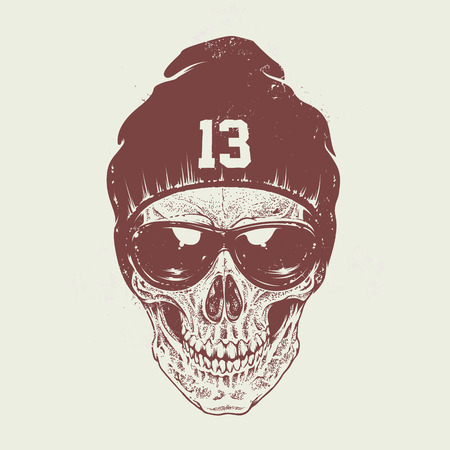 Dotwork style skull with sunglasses and hat. Vector art.