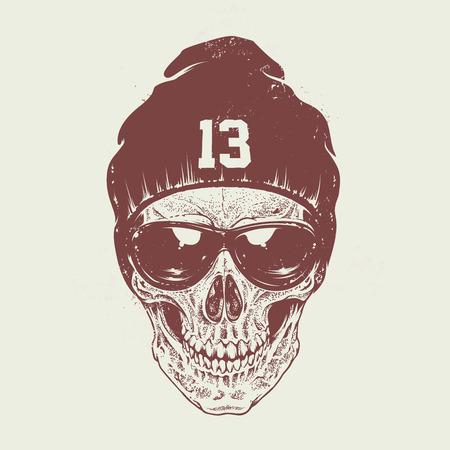 tete de mort: Le style Dotwork crâne avec des lunettes de soleil et un chapeau. Vector art.