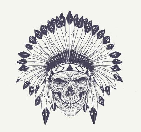 indio americano: Cráneo del estilo de Dotwork con sombrero de plumas indio. Arte vectorial Grunge.
