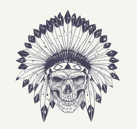 Dotwork style skull with indian feather hat. Grunge vector art. Çizim