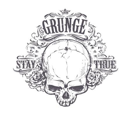 calaveras: Cráneo del Grunge con las rosas y motivos florales. Manténgase impresión verdadera de la vendimia. Ilustración del vector.