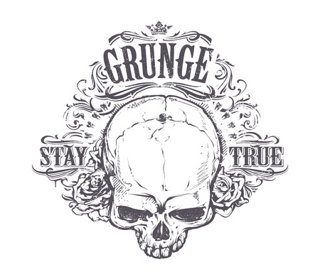 Grunge skull with roses and floral patterns. Stay true vintage print. Vector illustration. Vettoriali
