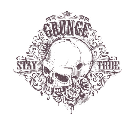 dirty teeth: Grunge skull with roses and floral patterns. Stay true vintage print. Vector illustration. Illustration