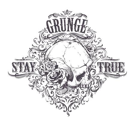 dientes sucios: Cr�neo del Grunge con las rosas. Mant�ngase impresi�n verdadera de la vendimia. Ilustraci�n del vector.