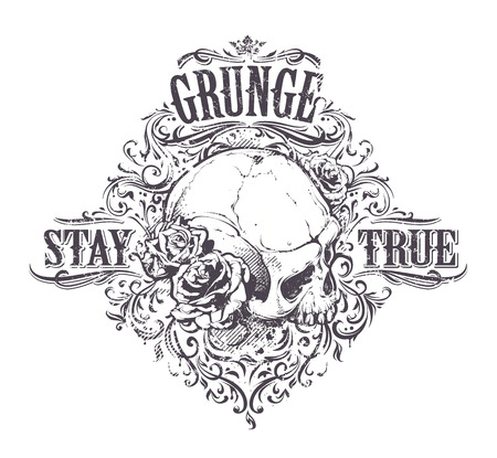 dirty teeth: Grunge skull with roses. Stay true vintage print. Vector illustration. Illustration