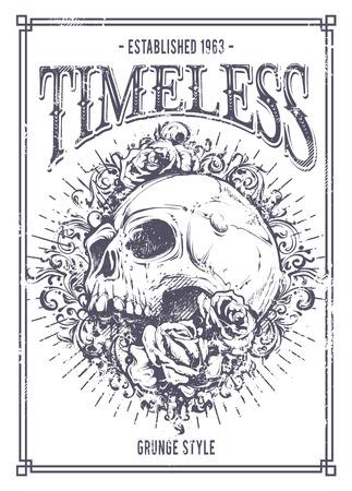 Grunge poster with skull, roses and floral patterns. Vector illustration. Illustration