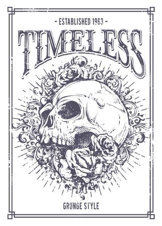 Grunge poster with skull, roses and floral patterns. Vector illustration. Vettoriali