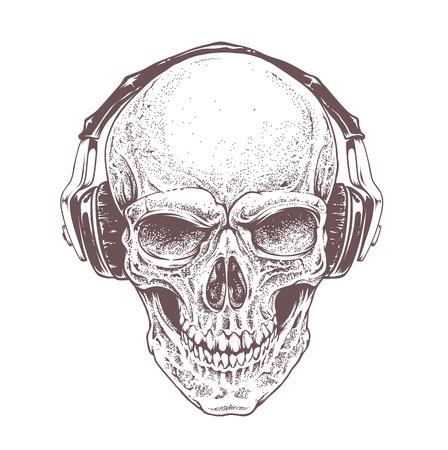 calaveras: Dotwork estilo cráneo con auriculares. Vector el arte.