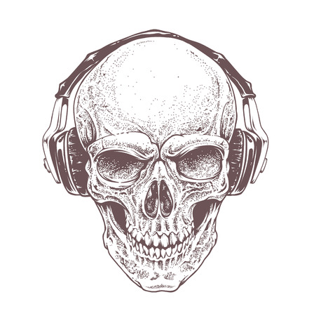 Dotwork styled skull with headphones. Vector art.