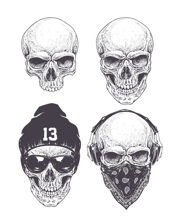 Dotwork styled skulls isolated on white. Vector art.