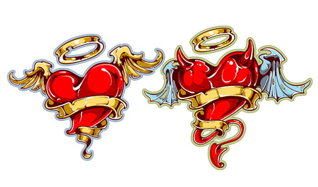 Two tattoo styled hearts. Angel and davil hearts. Vector arts. Illustration
