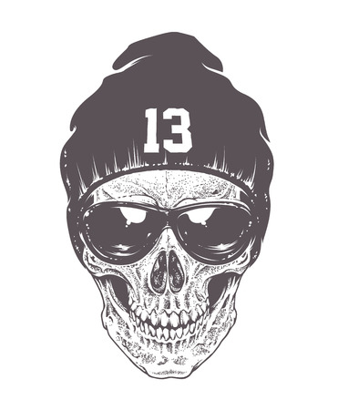 Dotwork style skull with sunglasses and hat. Isolated on white. Vector art.