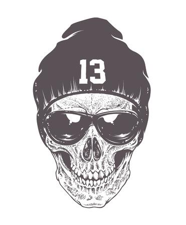 Dotwork stijl schedel met een zonnebril en hoed. Geïsoleerd op wit. Vector art. Stock Illustratie