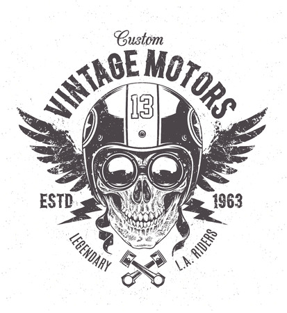 Rider skull with retro racer attributes. Grunge print. Vintage style. Vector art. Çizim