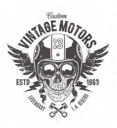 Rider skull with retro racer attributes. Grunge print. Vintage style. Vector art. Illustration