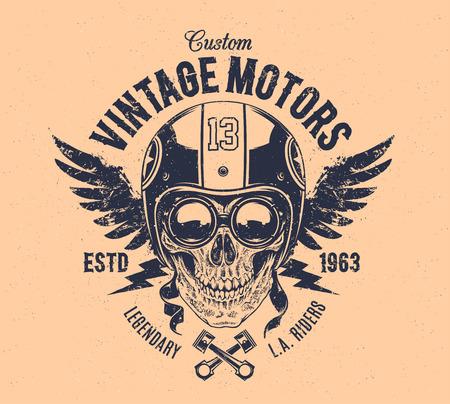 helmet moto: Cr�neo Jinete con atributos retro corredor. Impresi�n de Grunge. Estilo vintage. Vector el arte.