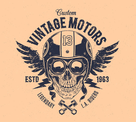 rider: Rider skull with retro racer attributes. Grunge print. Vintage style. Vector art. Illustration
