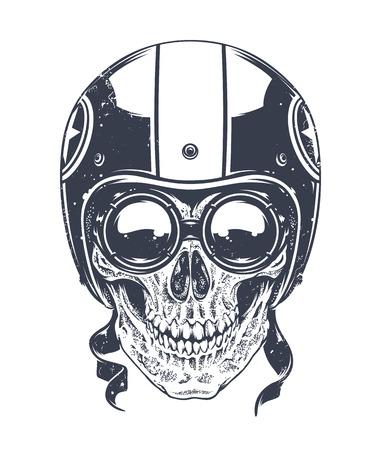 tete de mort: Dotwork style crâne de rider avec des lunettes rétro et un casque. Vector art.
