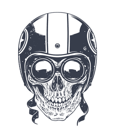 Dotwork styled rider skull with retro glasses and helmet. Vector art.