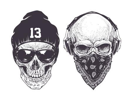 tete de mort: Deux crânes dotwork avec des attributs de style de rue modernes. Vector art.