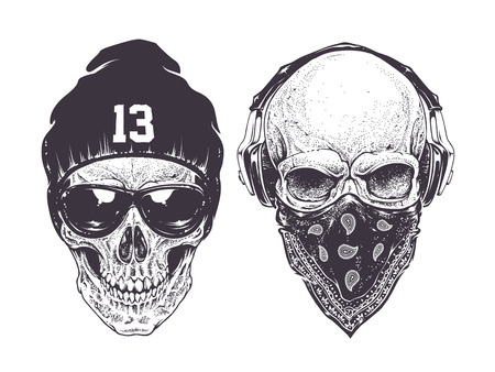 Two dotwork skulls with modern street style attributes. Vector art.