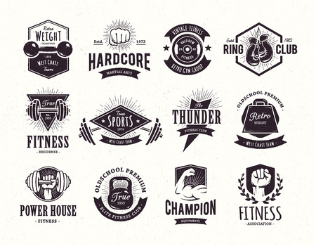barbell: Set of retro styled fitness emblems. Vintage gym logo templates. Vector illustrations. Illustration