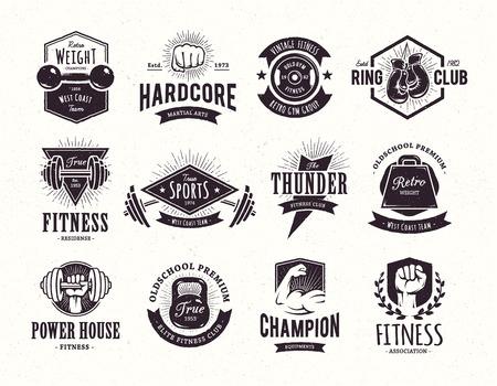 Set of retro styled fitness emblems. Vintage gym logo templates. Vector illustrations. Stock Illustratie