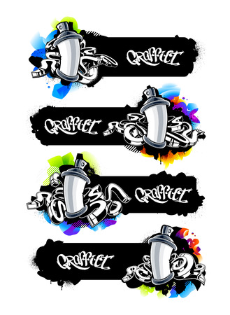 Horizontal graffiti banners with spray cans and abstract arrows. Cool graffiti design templates with copy-space. Vector graphics. Иллюстрация