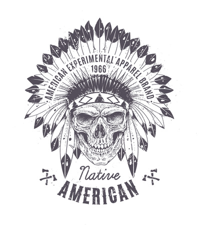 chief: Dotwork style skull with indian feather hat. Grunge print template. Vector art.
