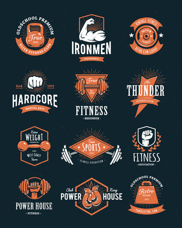 Set of retro styled fitness emblems. Vintage gym logo templates. Vector illustrations. Иллюстрация