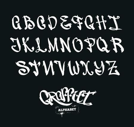 Set of graffiti style letters. Street-art alphabet. Vector symbols.