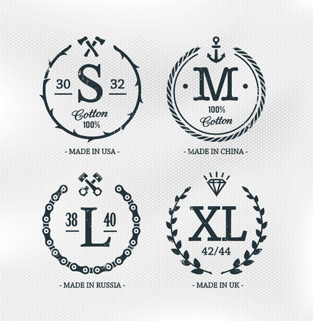 retro wear: Wear size emblems on cotton textured white background. Retro styled design templates. Vector illustrations. Illustration