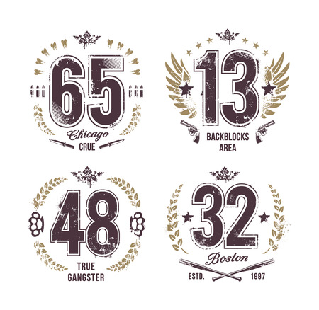 Grunge numbers. Gangster style t-shirt prints. Vector arts.