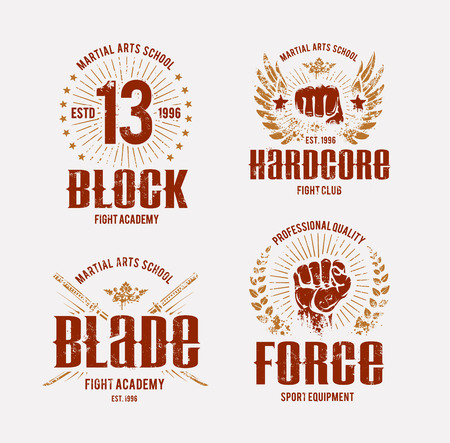 Fight club templates. Grunge prints. Martial arts emblems. Vector arts.