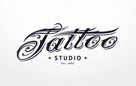 Tattoo studio template. Tattoo styled lettering. Vector art.