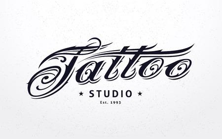 Tattoo studio template. Tattoo styled lettering. Vector art.