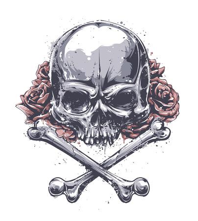 calavera: Cráneo del Grunge con los huesos cruzados y rosas. Vector el arte.