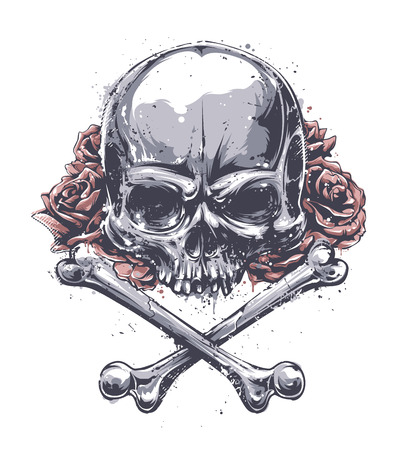 Grunge skull with crossed bones and roses. Vector art.