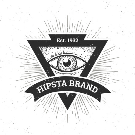Dotwork hipster banner. Triangle shape with eye and ribbon. Vector art.
