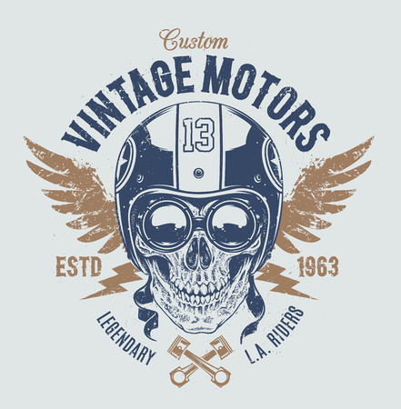 Rider skull with retro racer attributes. Grunge print. Vintage style. Vector art. 일러스트