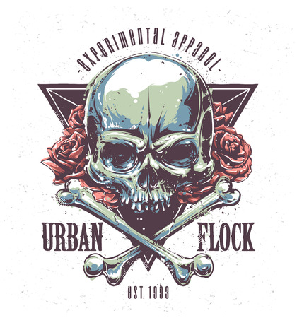 skull drawing: Grunge print with skull, bones, roses and typography. Vector art.