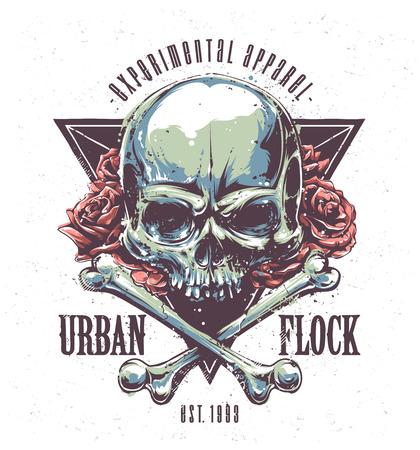 calavera: Imprimir Grunge con el cráneo, los huesos, las rosas y la tipografía. Arte del vector.