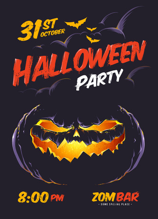 fog: Halloween party poster template.