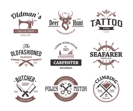 Set of retro styled emblems. Workshop logo templates. Different craft icons. Vector arts.  イラスト・ベクター素材